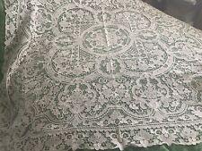 More details for antique handmade point de venise italian needle lace tablecloth & seven napkins
