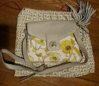ISAAC MIZRAHI  SHOULDER HAND BAG / PURSE Yellow Flowered w/Leather