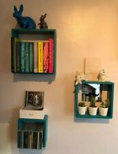 Set of 3 Floating Cube Square Wall Shelves – Turquoise Colour