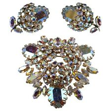 Sherman Iridescent Rhinestones Brooch Pin Earrings Set 1950s Schreiner Style