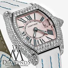 Pink Ladies Cartier Roadster W62016V3 Weiß Alligator Armbanduhr mit Diamant