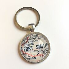 VAN BUREN FORT SMITH ARKANSAS USA Map Key Ring Keychain Silver vntg ATLAS