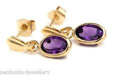 9ct Gold Oval Amethyst Drop earrings Gift Boxed