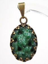 SoHo® Anhänger vintage grün original handgemachter Glasstein 1960´s oval jade