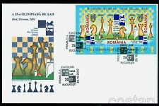 2002 Chess Olympiad Bled,Slovenia,Scacchi,Schach,Echecs,Romania,Bl.324,FDC,rare!