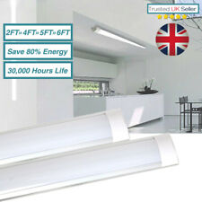 LED BATTEN SLIMLINE TUBE LIGHT WALL /CEILING MOUNT 2ft 4ft 5ft 6ft BRIGHT LUMENS