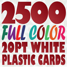 2500 Full Color Custom 20pt WHITE PLASTIC BUSINESS CARD Printing w Round Corners