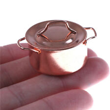 Mini Soup pot 1/12 Dollhouse Miniature Kitchen Copper Pot with Lid E PLV