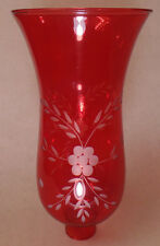 "Cranberry Cut Flower Glass Hurricane Lamp Shade Candle Sconce Light, 5"" x 10"""