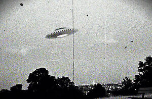 Framed Print - Vintage 1950's Photo of an Alien UFO (Picture Poster Space Travel