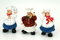 Set of 3 Chef Figurine Home Kitchen Decor Bistro Statue Restaurant Fat Italian