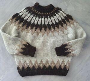 Vintage Made In Iceland L 100% Lopi Wool Lopapeysa for LL BEAN Hilda Ltd Grey