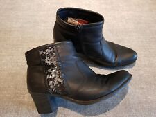 Rieker size 4 (37) black faux leather side zip sequined lined ankle boots heels