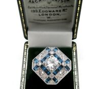 BEAUTIFUL STATEMENT ART DECO STYLE SAPPHIRE PASTE COCKTAIL RING SIZE  O  7