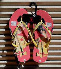 Original PLAYBOY Zehentrenner Sandalen Beach Badeschuhe Pink + Gelb UK 5 Gr 38