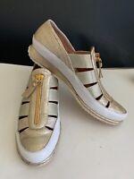 Womens Stuart Weitzman Loafer Casual Shoe Flat White Gold Zipper Size 8 N