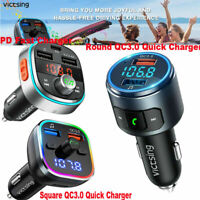 VicTsing V5.0 Bluetooth FM Transmitter Radio Adapter Music Player QC3.0 & LED