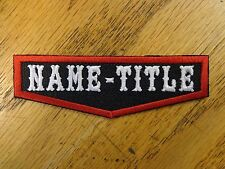 Custom Embroidered Name Title Badge Club Patch MC Biker Vest Club Funny USA Made