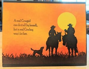 Anniversary Handmade Greeting Card, thinking of you, funny, love, couple, cowboy