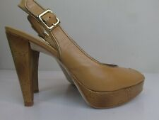 Women's BCBGirls  leather upper open toes shoes size 7 1/2 M made in Brazil