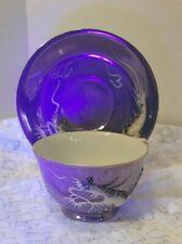 Japanese Dragonware Geisha Lithophane Moriage  Tea Cup and Saucer