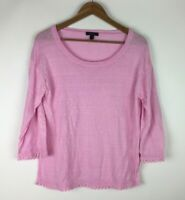 J. Crew Women's Size Small Pink Blouse Top 100% Linen 3/4 Sleeve