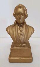 Mozart Bust Vtg Sculpture Gold Color Ceramic Desktop Music Composer Famous Piano