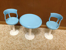 Barbie Doll House Blue Dining Bistro Table Chair Patio Set Restaurant Furniture