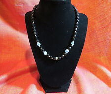 "Beautiful vintage necklace BLK,iridescent glass & rhinestone, ""West Germany"" 16"""