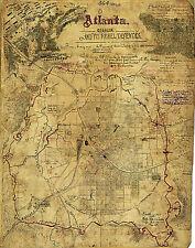 1864 Military Civil War Map Atlanta, Georgia and its Rebel Defenses 11x14 Print