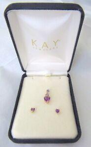14K Gold Heart Pendant/Earrings Set Amethyst Signed Kay Jewelers L@@K Wow!