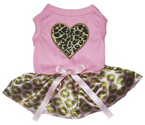 Valentine Leopard Heart Pink Cotton Top Gold Lips Tutu Pet Dog Puppy Dress