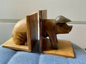 Vintage Wooden Solid Wood Pig Bookends Snout Tail Front Back GIFT