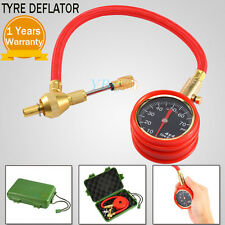 Rapid Tyre Deflator Air Deflators with Pressure Gauge Dial Valve Caps Tool Kit