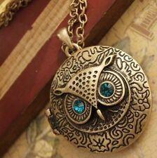 Eulenkette Gold mit FotoMedallion Uhu Owl Retro Anhänger Halskette Vintage Cross