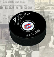 Guy Lafleur Montreal Canadiens Autographed Puck with HHOF 1988 Inscription