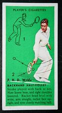 Vintage Tennis  Card   Technique Tips   Wilde    Original  Colour Card # VG