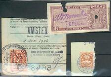 Lot Briefstücke mit Fiskal/Steuermarken Schweiz,Niederlande 1946,Indien, feinst
