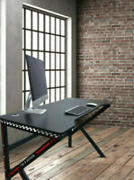 Gaming Desk PC Computer Table K Shape Carbon Fibre Effect Black & Red Office