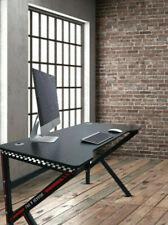 Gaming Desk PC Computer Table K Shape Carbon Fibre Effect Black & Red Office