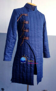 Medieval Thick Padded Full Length Sleeves Aketon Jacket Gambeson Coat