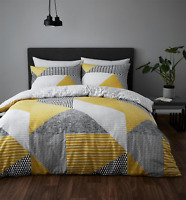 Catherine Lansfield Duvet Set Bedding Pillowcase Larsson Geo Ochre Pillow Home
