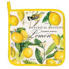 Michel Design Works Cotton Kitchen Potholder Lemon & Basil - NEW