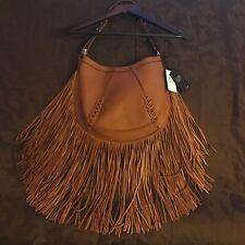 $278 Joe's Jeans Hayward Hobo Purse Bag Fringe Chestnut Brown NWT Leather