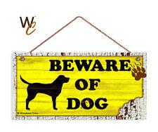 Beware of Dog Sign, Yellow Rustic Decor, Lab Dog Sign, 5x10 Rustic Wood Dog Sign