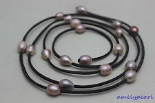 """Dark gray Leather Natural colors purple freshwater pearl necklace 48""""no metal"""