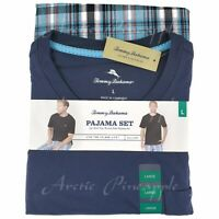 Tommy Bahama Men's Size L XL XXL Navy Spring Plaid Pajama 2-Piece Set NWT $78