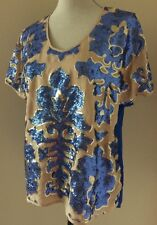 TRACY REESE for Neiman Marcus & Target Sequin Floral Blouse Blue & Nude Medium