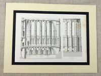 1857 Print French Architectural Print Reims Cathedral Genuine Antique Engraving