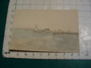 vintage Watercolor art:  EARLY KIDS DRAWING, LIGHTHOUSE, DOCK, HOUSE, BOAT